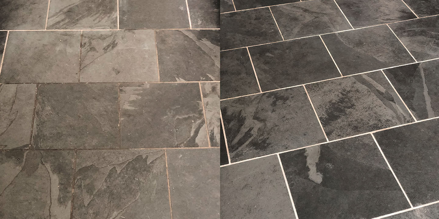 Before and After grout cleaning