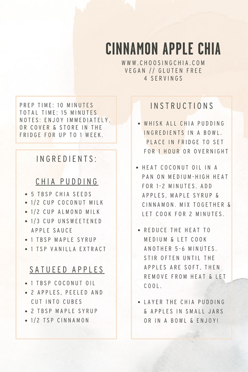 Apple chia seed pudding recipe, great for the Fall
