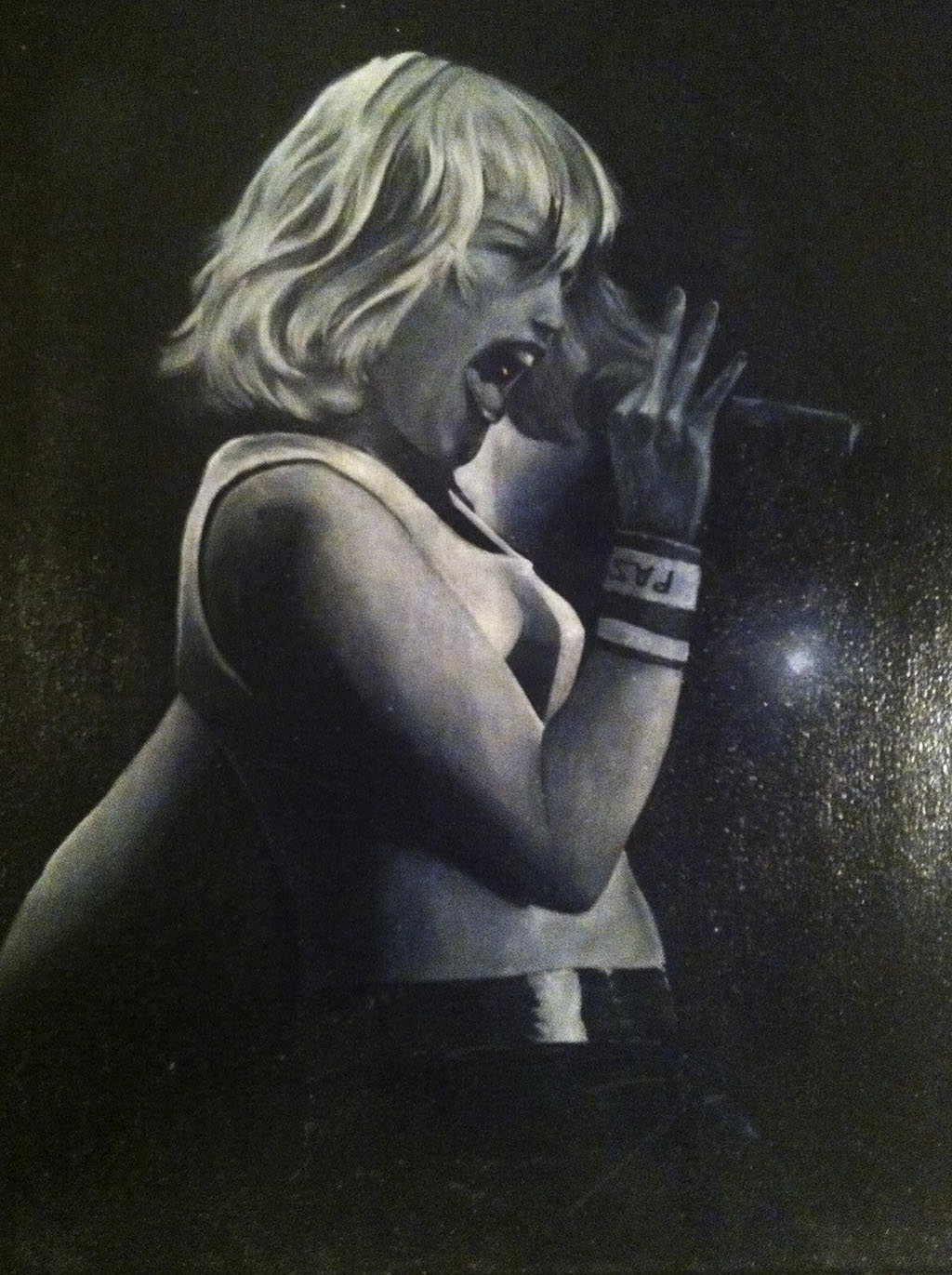 Gwen Stefani black and white oil painting painted by Perri Arts, Katy's sister.