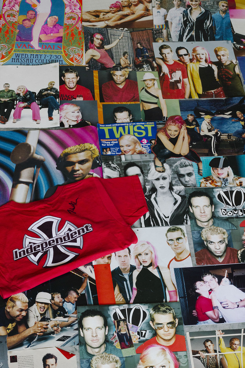 No Doubt magazine articles, photos, autographed t-shirts, that Katy collected