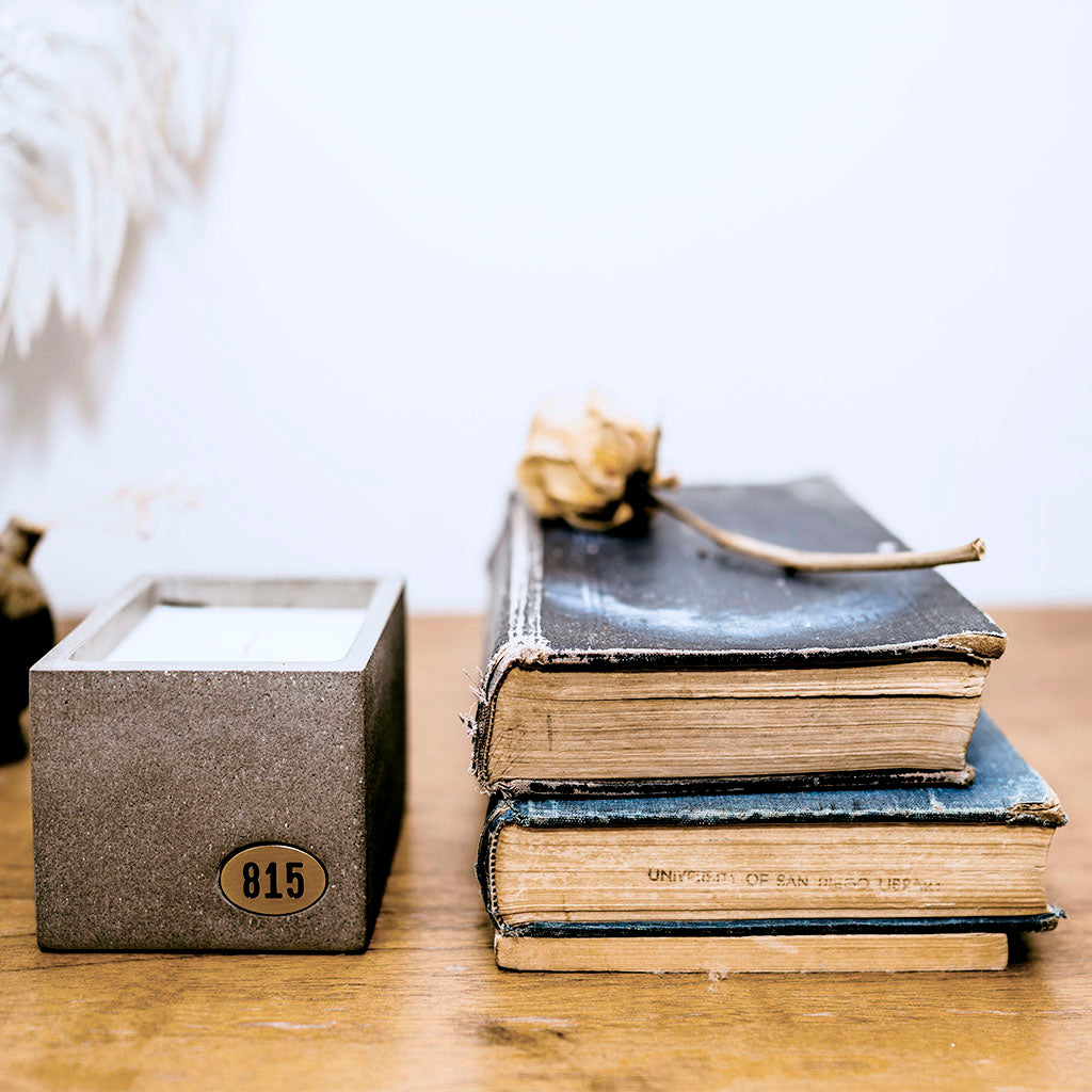 Shoppe 815 Signature Scent Concrete Candle next to a stack of books with a rose on top