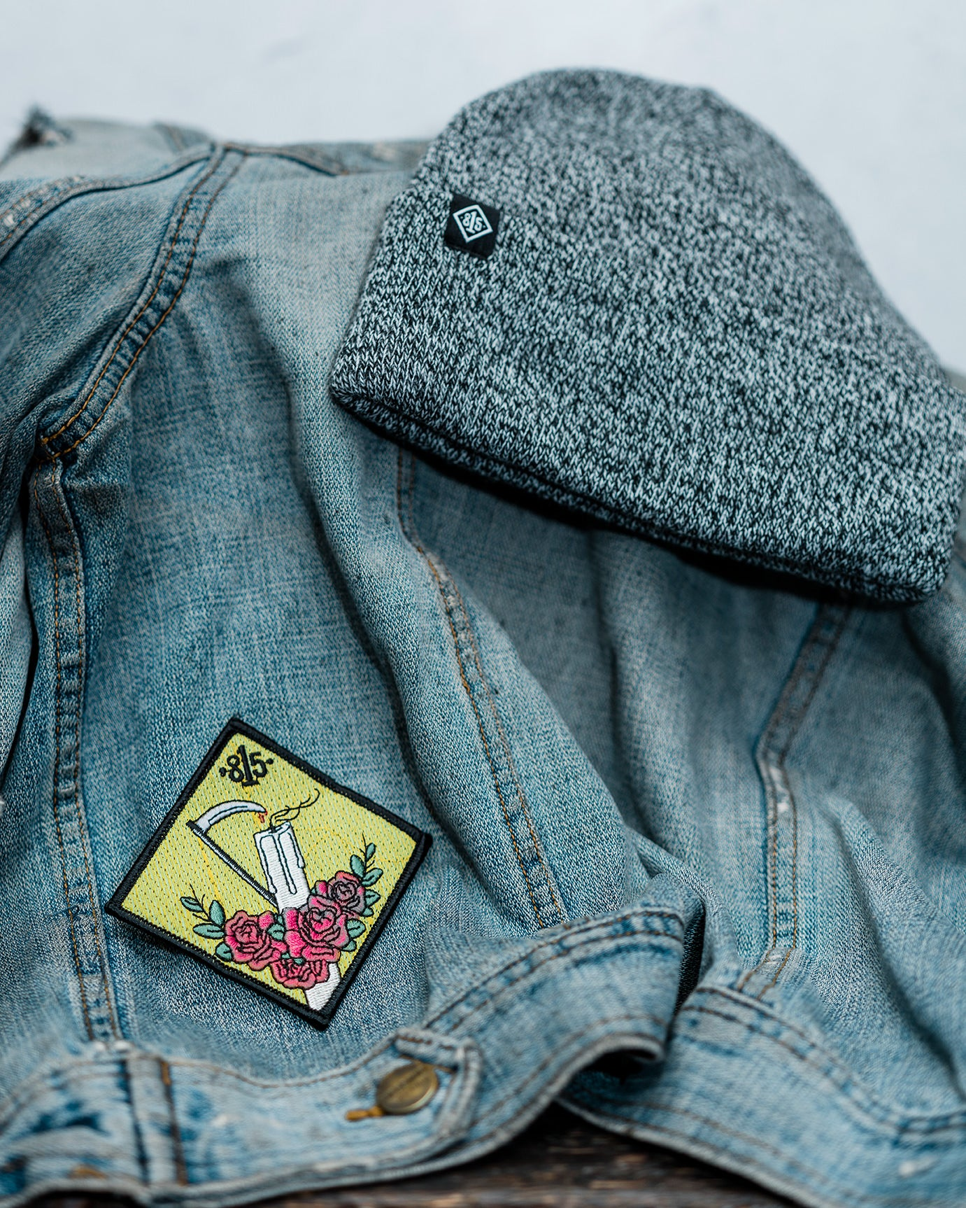 Diamond Candle Slayer Patch - Sickle - Candle - Roses - Denim Jacket - Beanie - Outfit