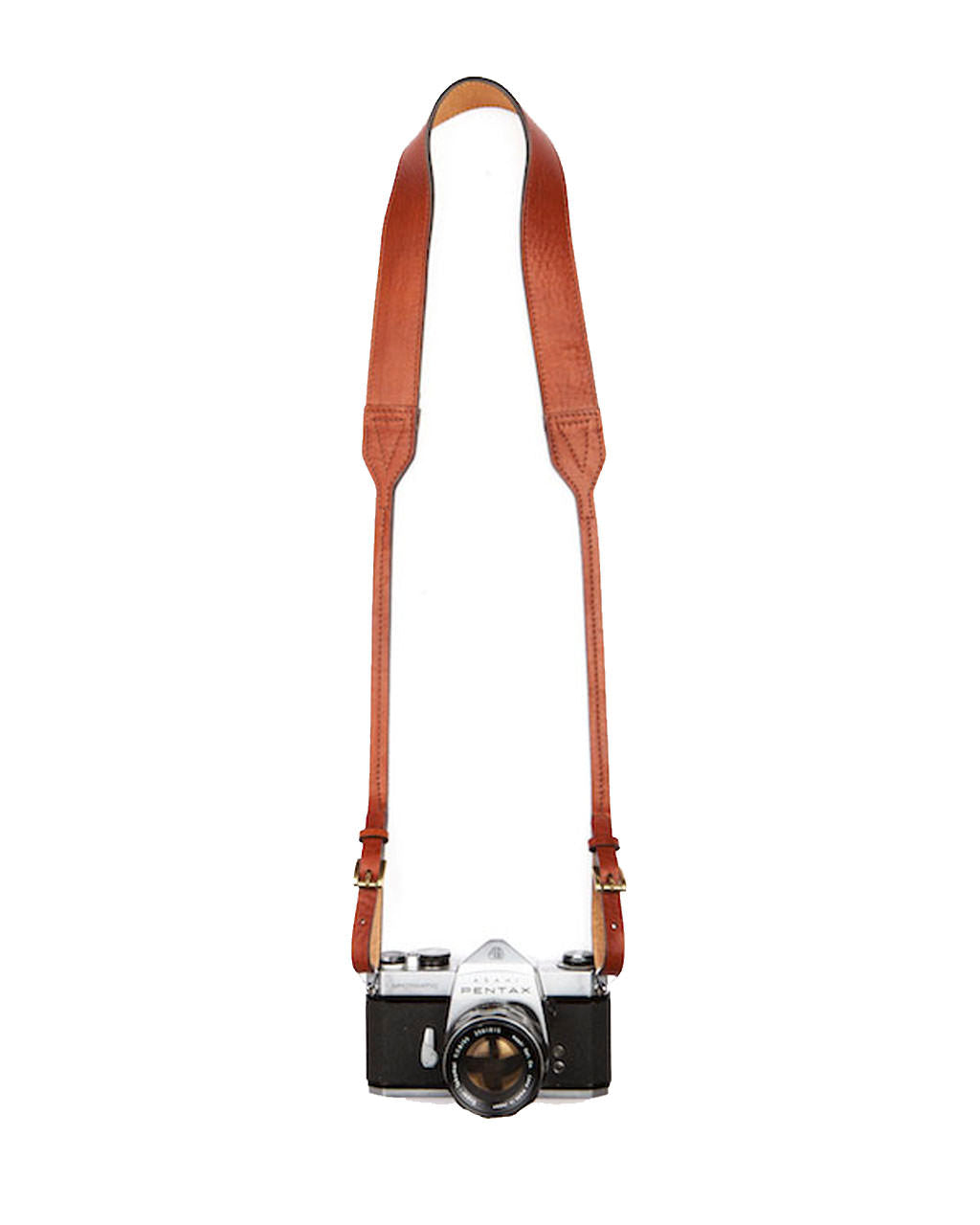 Leather camera strap on camera