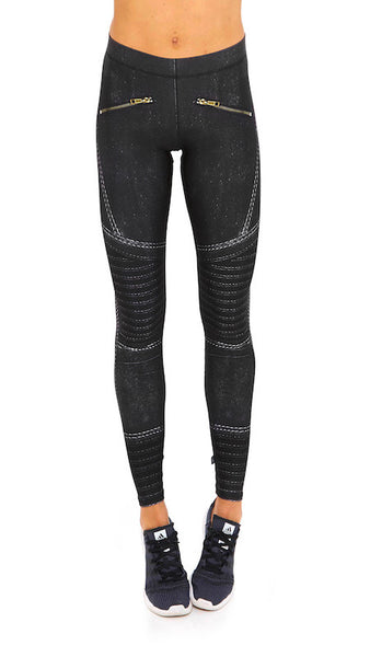 Black moto performance leggings