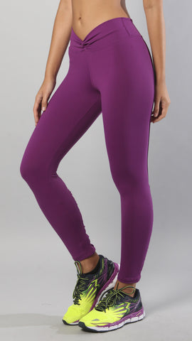V waist purple leggings