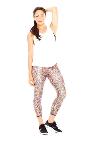 Multi glitter performance capri