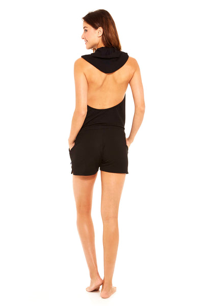 Womens black french terry romper