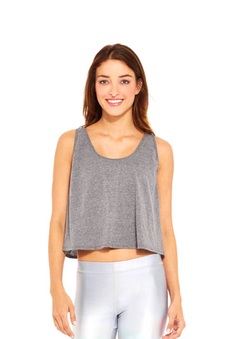 Womens gray fishnet racerback crop top