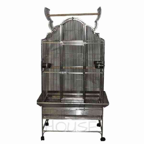 "A&E Cage Co. 32"" x 23"" Opening Victorian Top Stainless Steel Bird Cage"