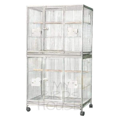 "A&E Cage Co. 40"" x 30"" Double Stack Breeder Stainless Steel Bird Cage"