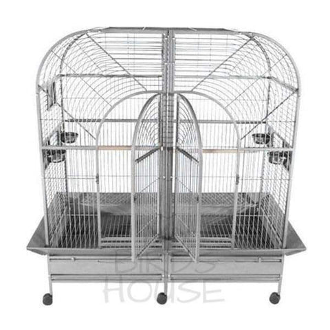 "A&E Cage Co. 64"" x 32"" Double Macaw Stainless Steel Bird Cage"