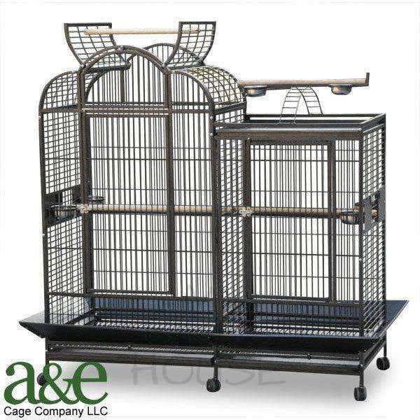 "A&E Cage Co. 69"" x 28"" Stainless Steel Split Level House Bird Cage"