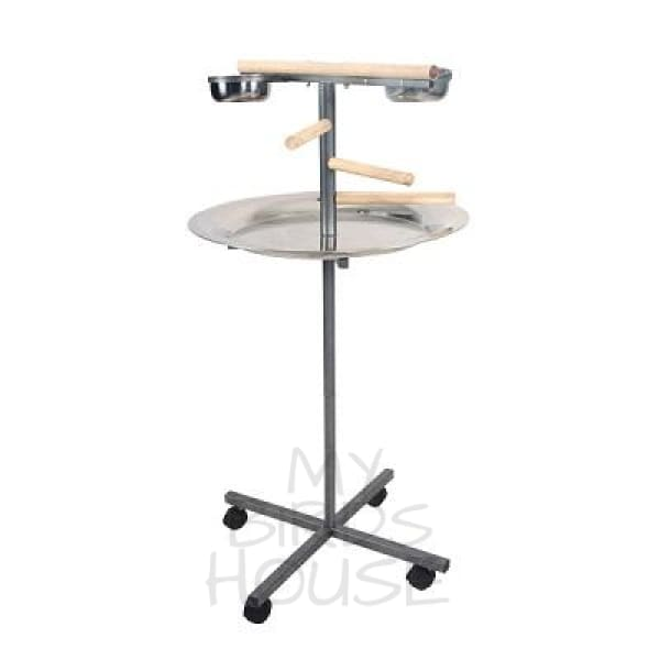 A&E Cage Co Round Play Stand with Wooden Steps