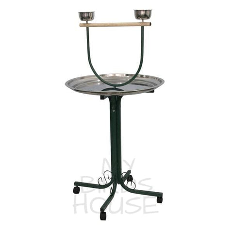 A&E Cage Co. T-Stand with Casters and Stainless Steel Dishes