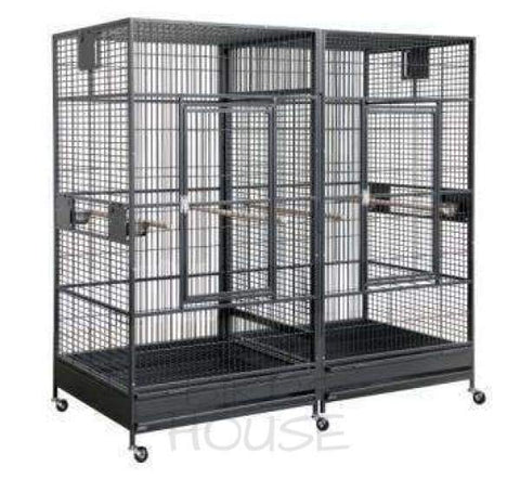 "HQ 80"" x 40"" Square Top Behemoth Double Macaw Bird Cage"