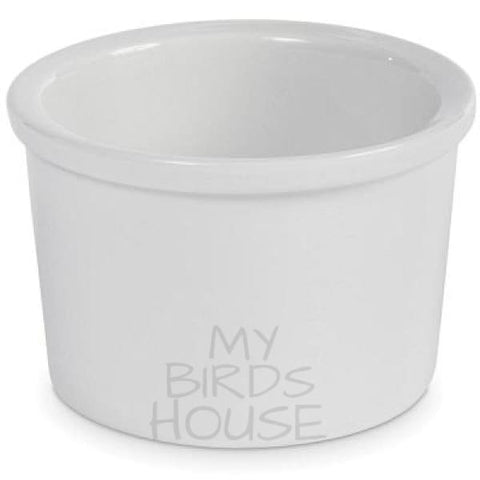 White Ceramic Crock Replacement Bird Cage Cup Bowl