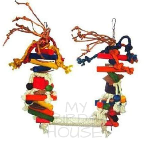 Large Rope Swing with Blocks & Leather Bird Toy