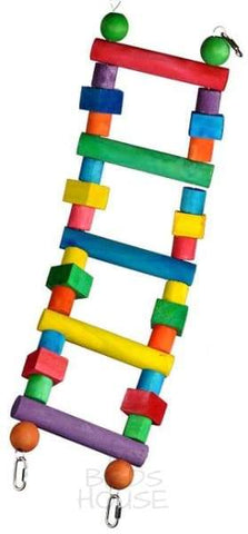 Small Multi-Colored Wooden Hanging Ladder Bird Cage