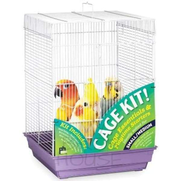 Square Top Roof Bird Cage - Purple