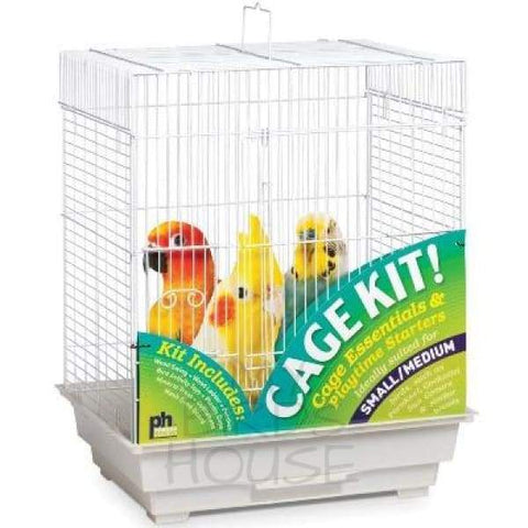 Square Top Roof Bird Cage - White