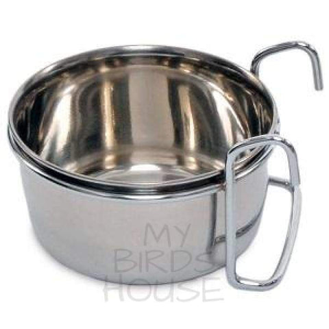 Stainless Steel Feeder Cup Bowl with Hangers on Bird Cage