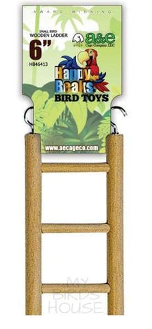 "Small Bird Parakeet Wooden Hanging Ladder - 6"" length with 3 rungs"