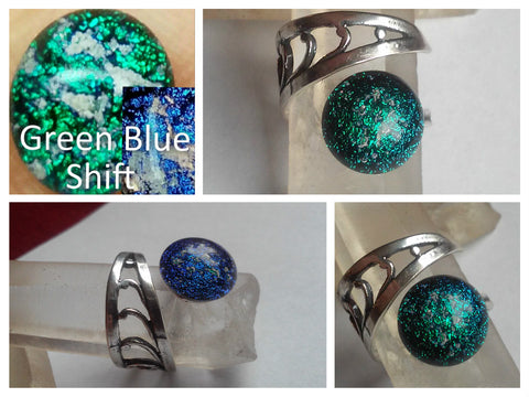 Green Blue Shift Dichroic Glass Ashes In Glass Infusion Glass Cremation Jewelry