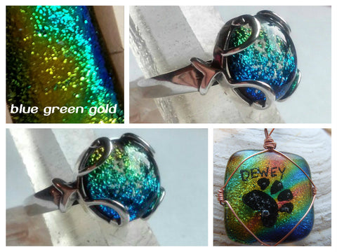 Blue Mix Dichroic Glass Ashes In Glass Infusion Glass Cremation Jewelry