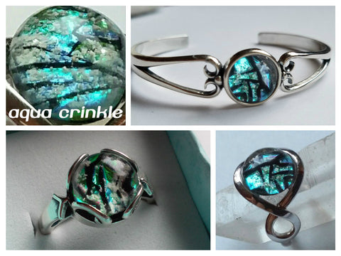 Aqua Crinkle Dichroic Glass Ashes In Glass Infusion Glass Cremation Jewelry