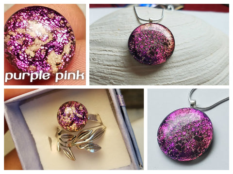 Pink Dichroic Glass Ashes In Glass Infusion Glass Cremation Jewelry
