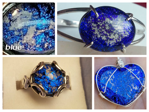 Blue Dichroic Glass Ashes In Glass Infusion Glass Cremation Jewelry