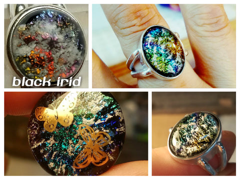 Black Irid Dichroic Glass Ashes In Glass Infusion Glass Cremation Jewelry