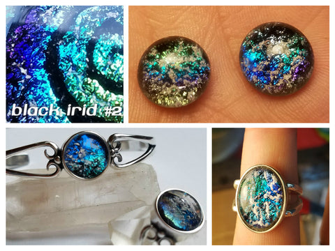 Black Irid 2 Dichroic Glass Ashes In Glass Infusion Glass Cremation Jewelry