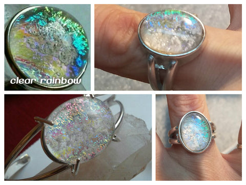 Clear Rainbow Dichroic Glass Ashes In Glass Infusion Glass Cremation Jewelry
