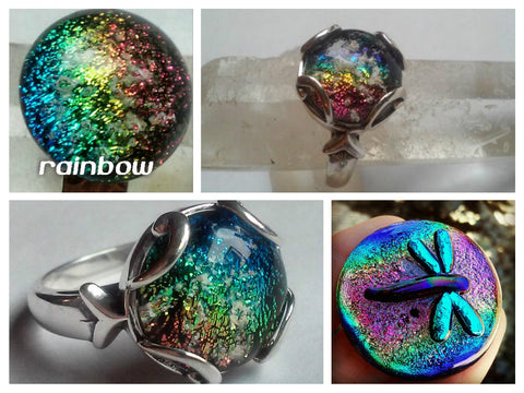 rainbow Dichroic Glass Ashes In Glass Infusion Glass Cremation Jewelry