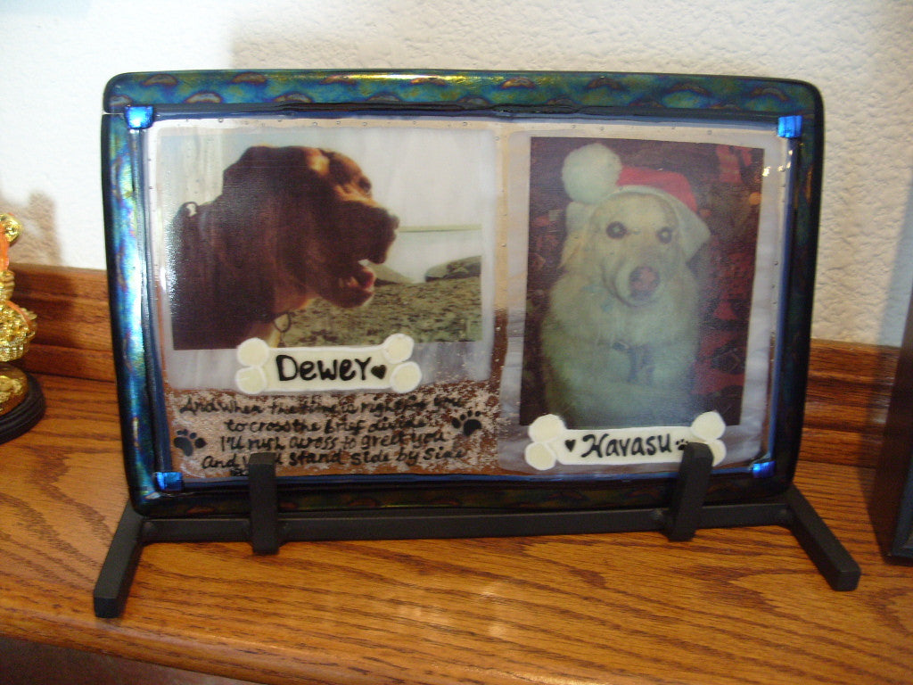 2 dogs in one photo urn Unique Celebration of life Funeral Memorials. Ashes in Glass Cremation Glass Art Sculptures, Cremation Wind Chimes, Cremation Sun Catchers, Table Displays, & Cremation Jewelry Custom USA Handmade by Infusion Glass. Ashes Infused Glass Human and Pet Cremation Ash Urns  Ashesinfusedglass.com