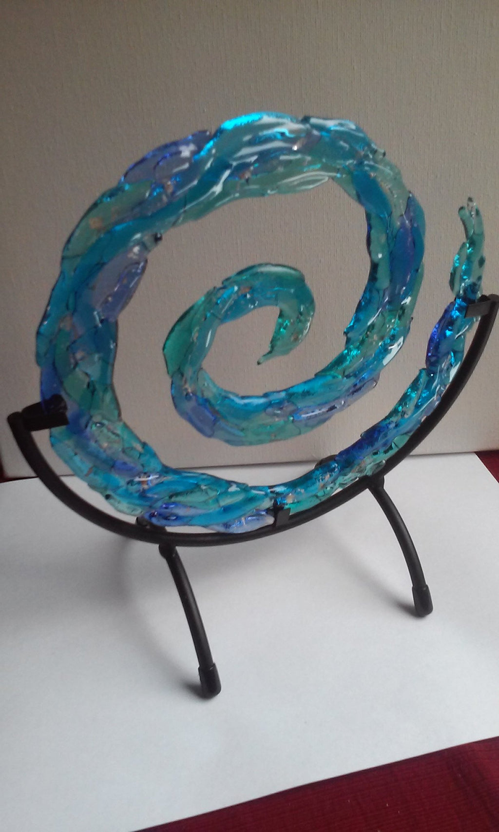 Ashes in Glass 3d Spiral of life ashes infused glass cremation memorial urn by infusion glass