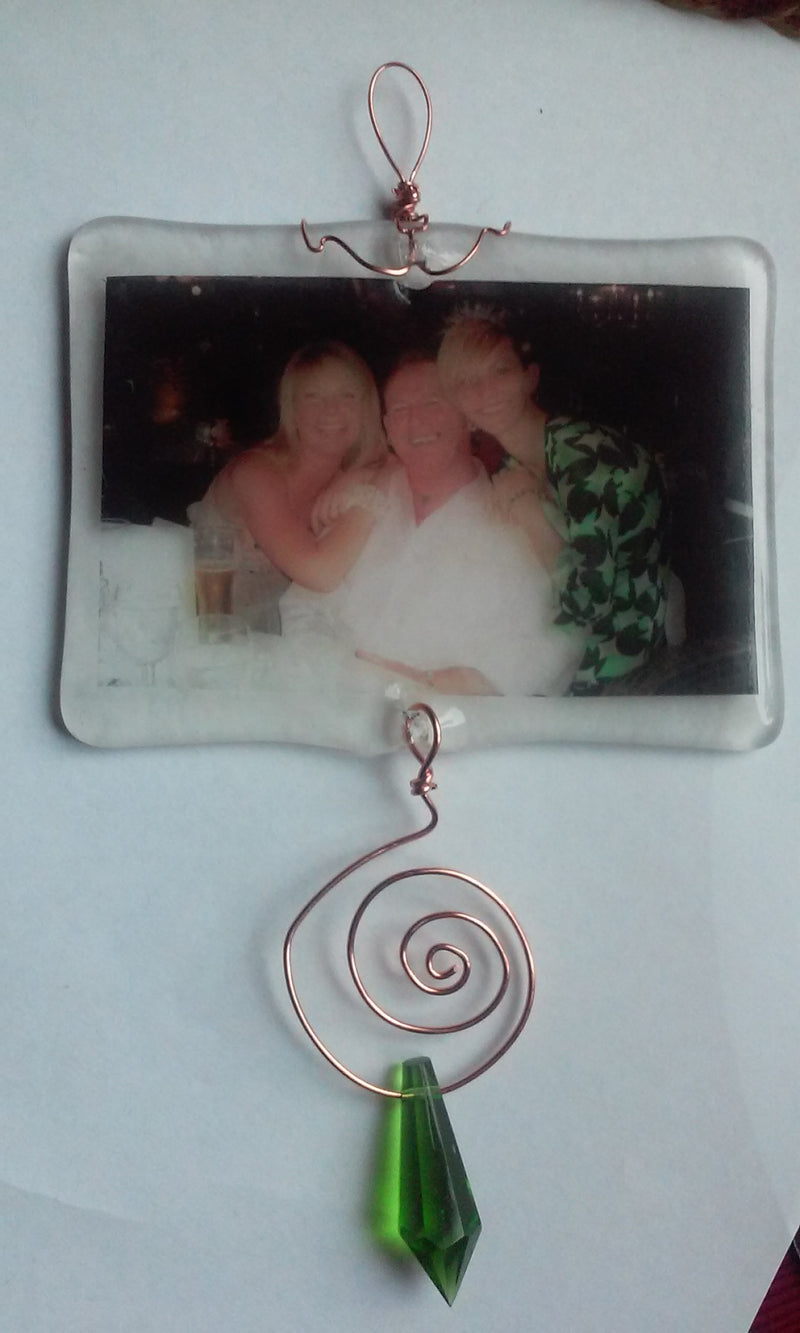 Ashes InFused Glass Cremation Sun Catcher Photo Ornament 2x3