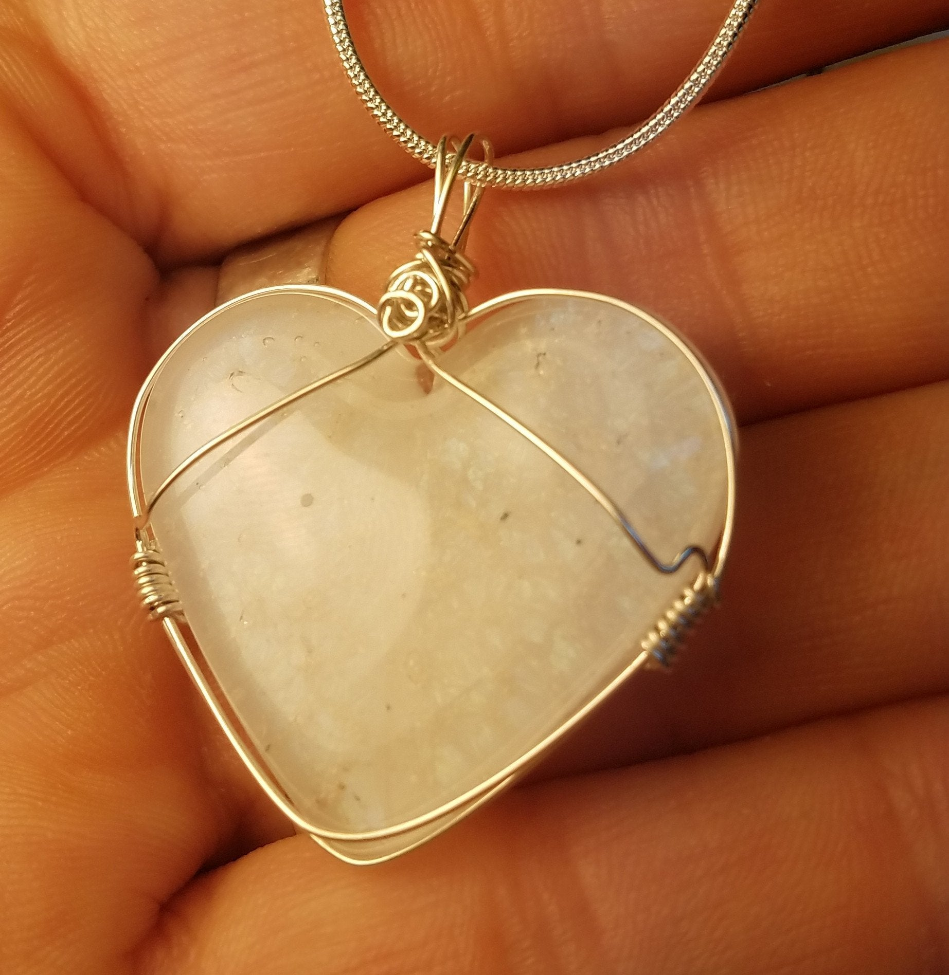 Sterling Silver Yellow Blue Green Dichroic Glass Heart Pendant