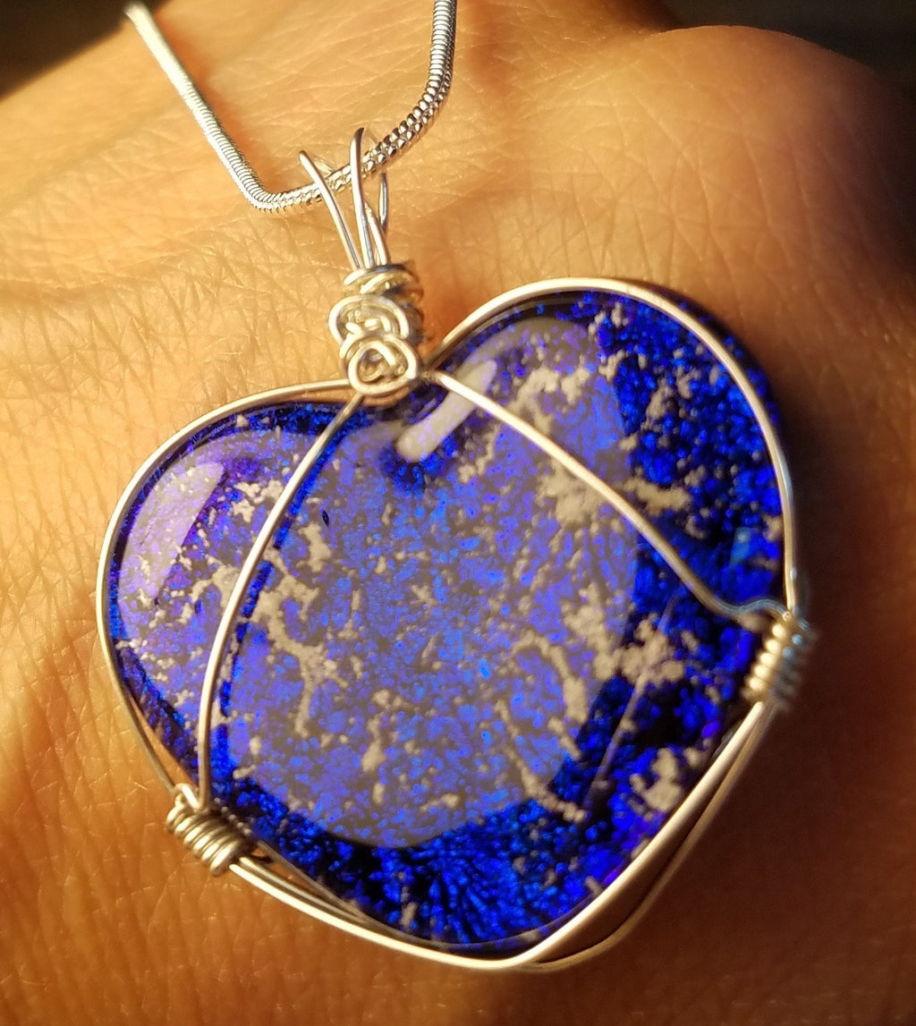 glass heart infused with cremation ashes blue sterling silver, cremation jewelry, memorial jewelry, pet memorial jewelry, cremation ring, memorial ring, handmade, urn ring, ashes in glass, ashes InFused Glass, ring for Ashes, sympathy gift USA Handmade by Infusion Glass Artist Joele Williams Human and Pet Cremation Ash Remembrance Urns AshesInfusedGlass.com