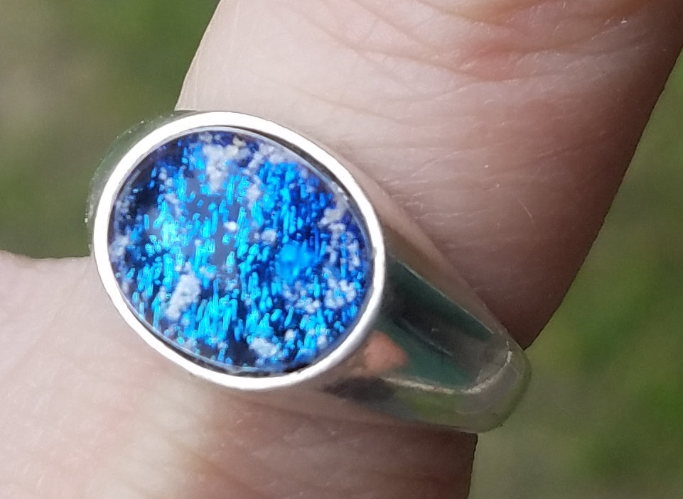Men's New~ Cremation Jewelry Ring Ashes InFused Glass Sterling Silver 10