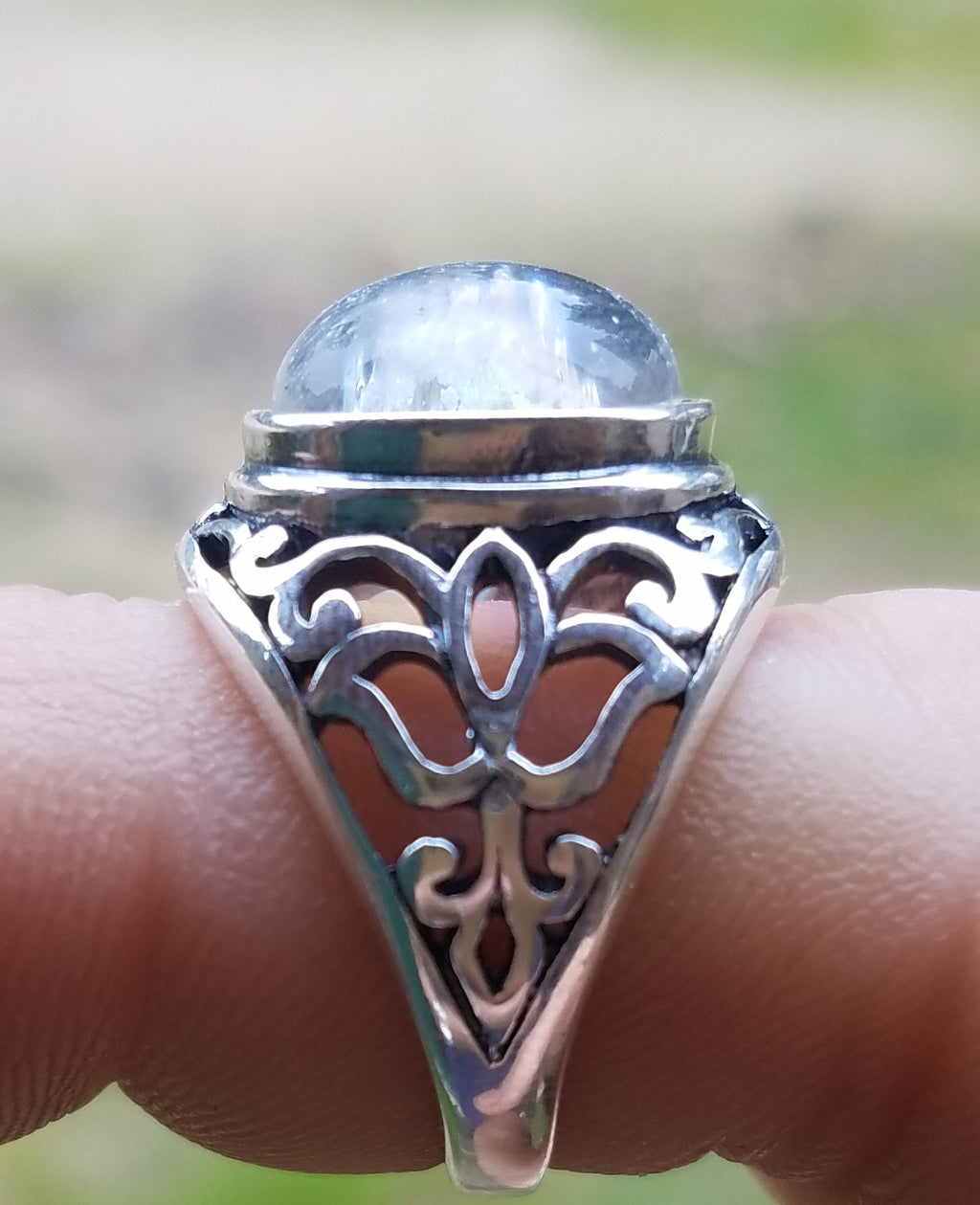 NEW Cremation Jewelry Ring Filigree Lotus Sterling Silver 7,8 Ashes InFused Glass