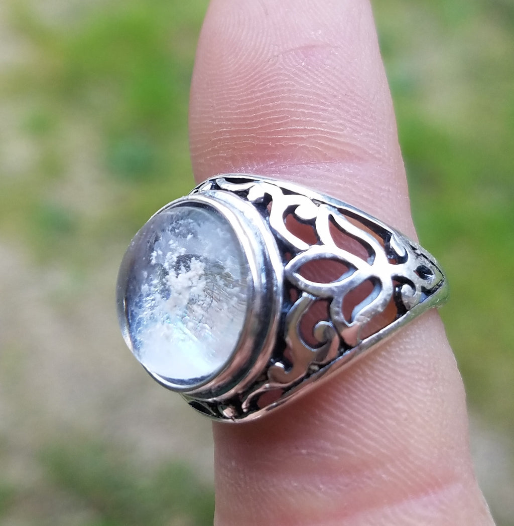 Cremation Jewelry Ring Filigree Lotus Sterling Silver 7,8 Ashes InFused Glass