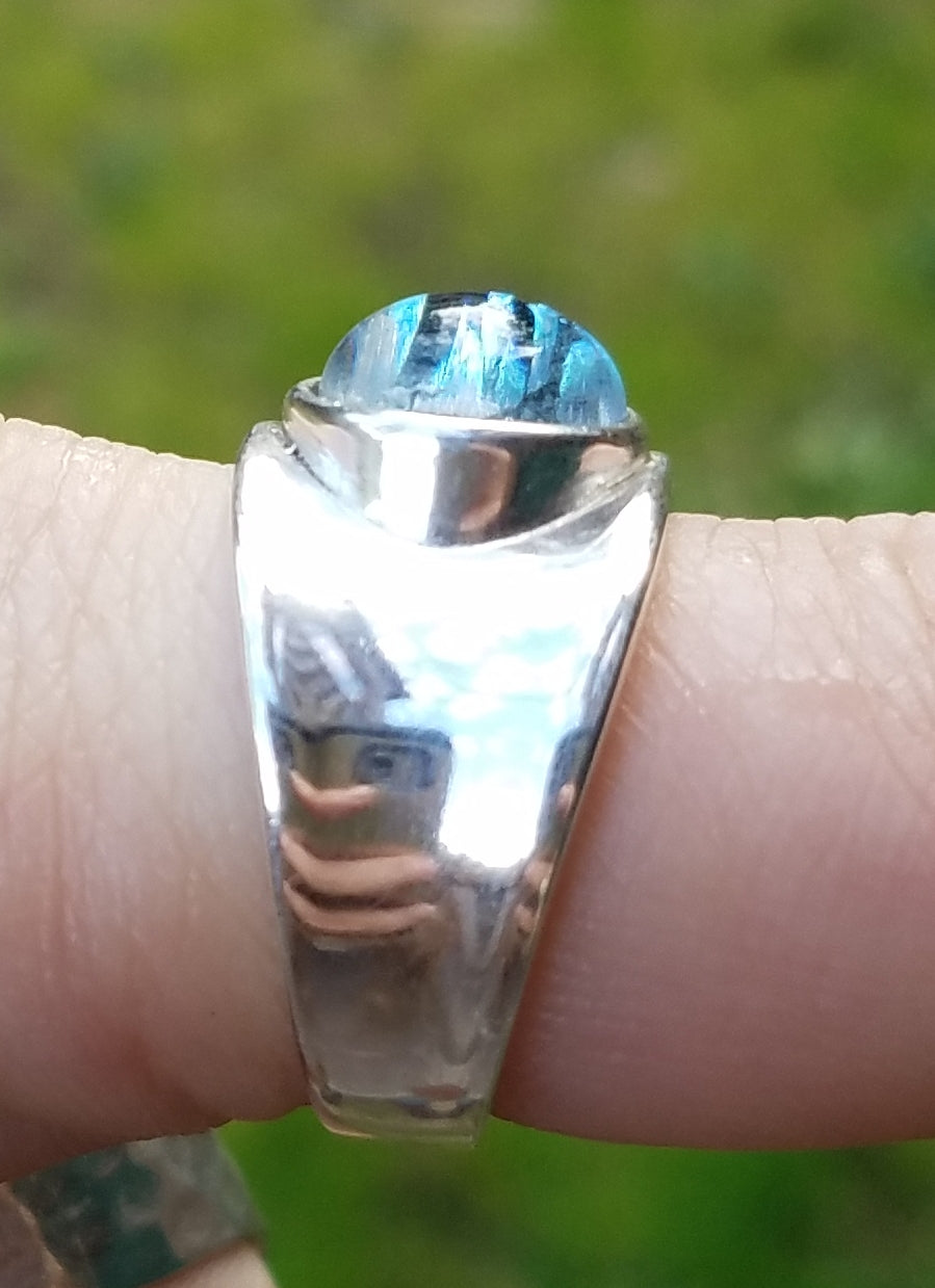 NEW Size 5,6,7,8,9 Cremation Jewelry Sterling  Indented Ring Ashes InFused Glass