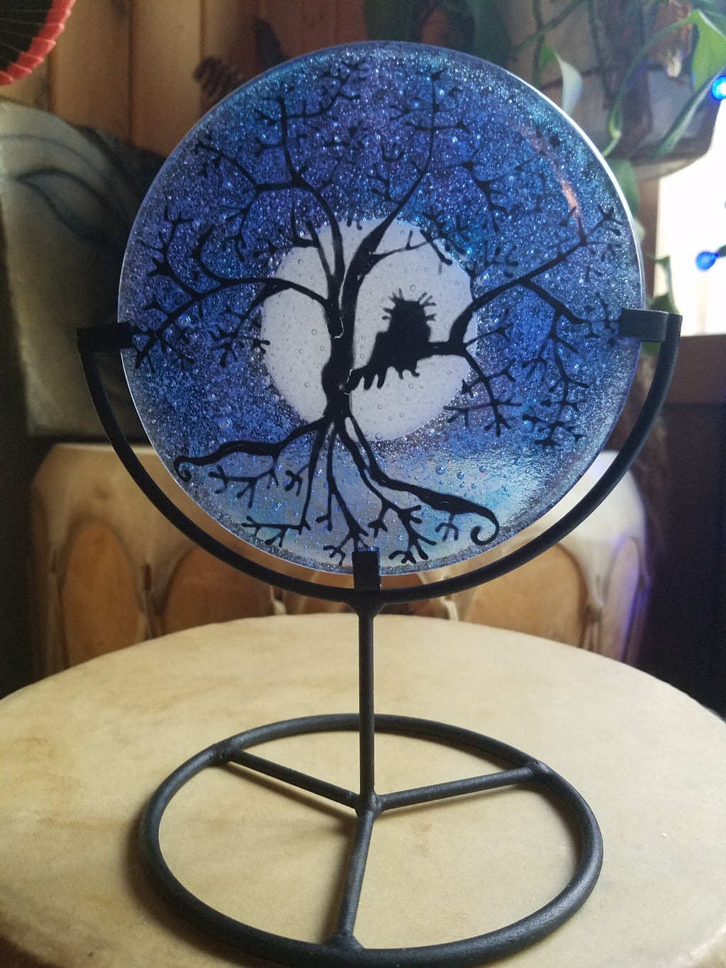 5 inch Tree of Life Owl Urn Cremation Ashes Infused Glass by Infusion Glass Full Moon funeral memorial keepsake