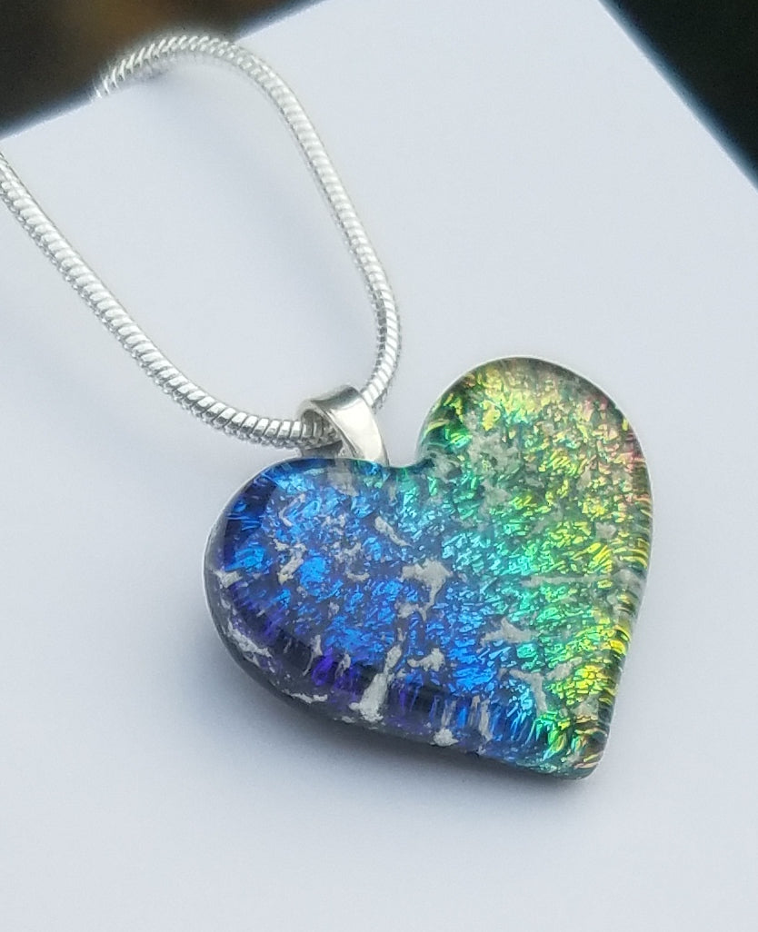 Tiny 3/4 Inch Cremation Jewelry Heart Ashes InFused Glass Pendant