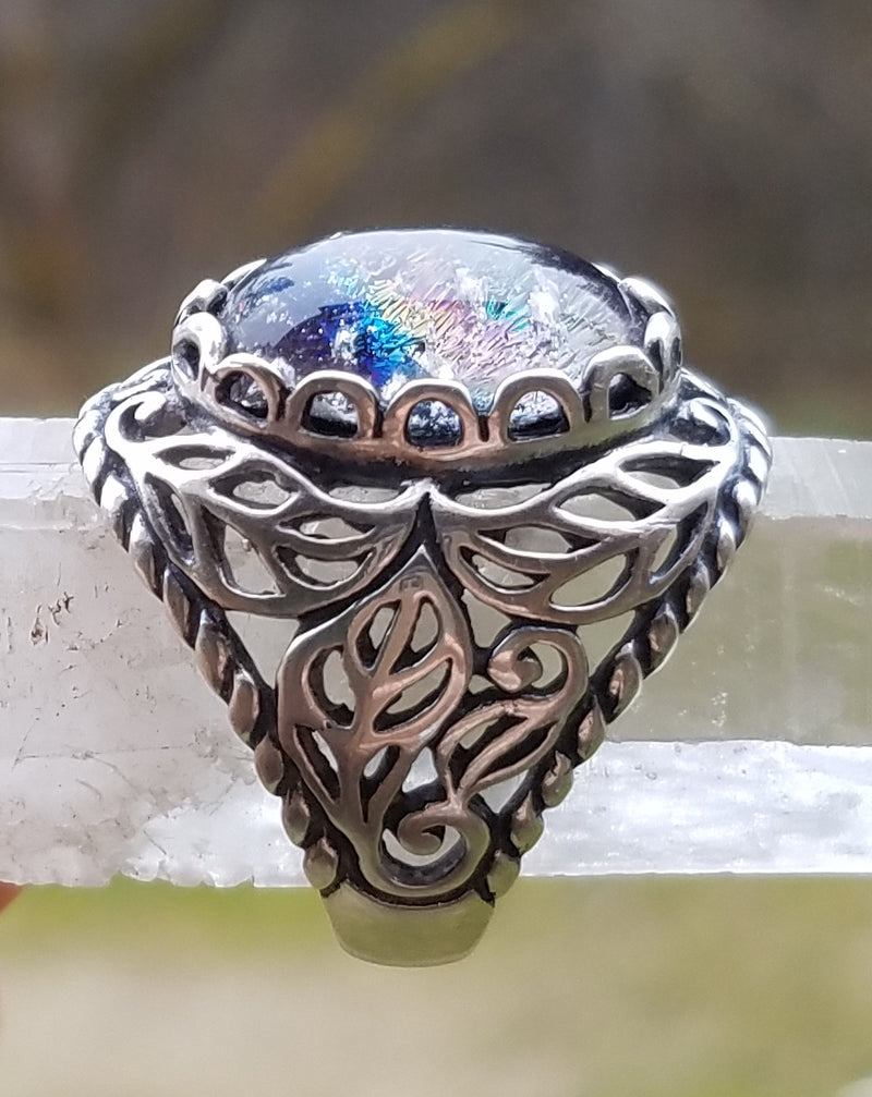NEW Cremation Jewelry Ring Filigree Leaf Sterling Silver 7,8 Ashes InFused Glass