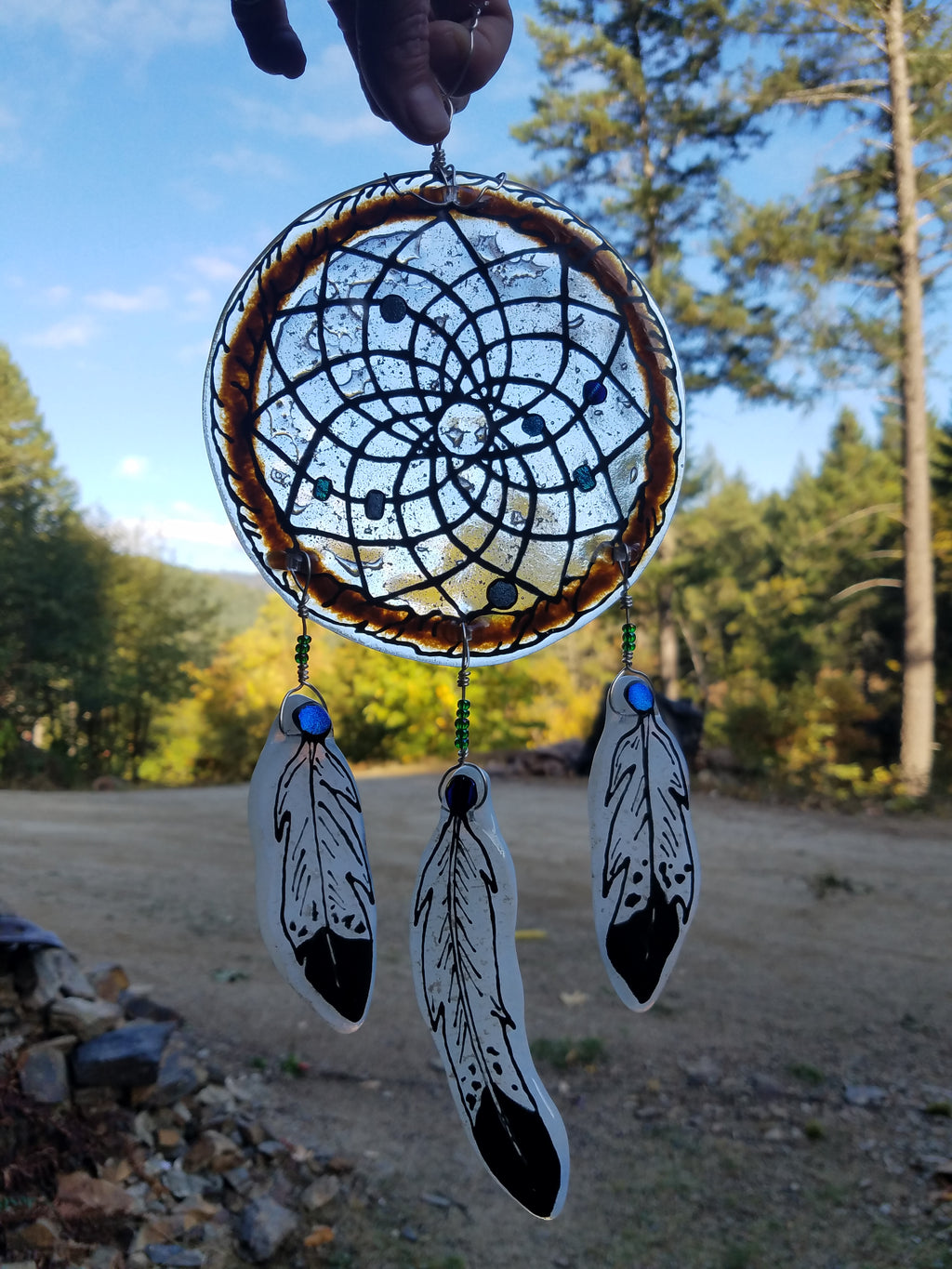 Ashes InFused Glass Cremation Art Sun Catcher 6 inch Dream Catcher 3 Feathers