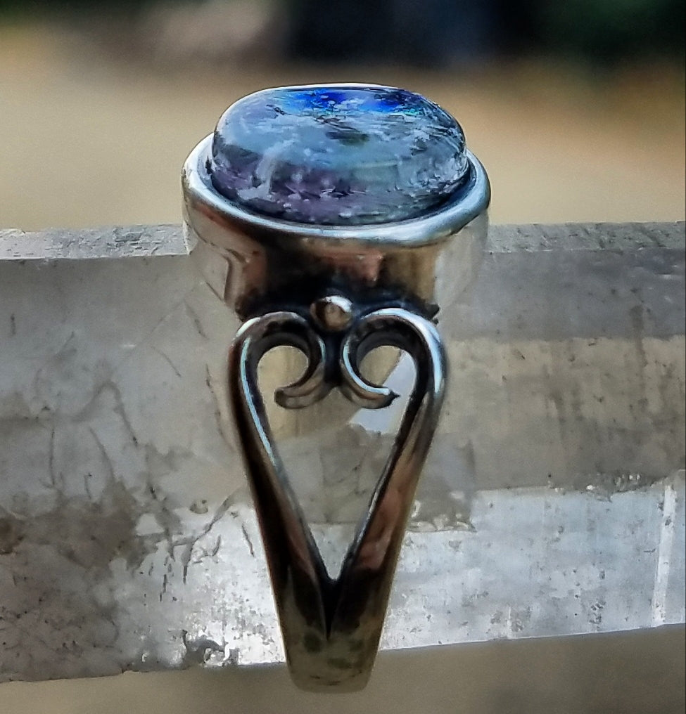 Flat Cut Heart Sterling Silver Cremation Jewelry Ring Ashes InFused Glass 7,8