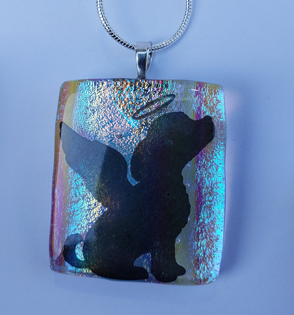 NEW Rainbow Bridge Angel Puppy Ashes InFused Sterling Silver Necklace